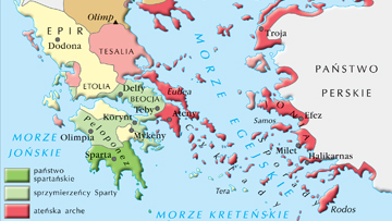 Układ sił w Grecji przed wybuchem wojny peloponeskiej.