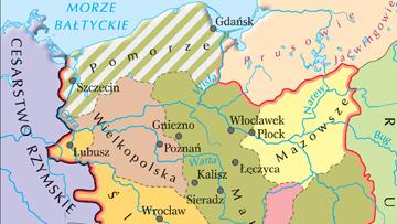 Podział państwa Piastów po śmierci Bolesława Krzywoustego (jedna z hipotetycznych rekonstrukcji).