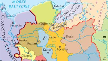 Polska w okresie najgłębszego rozbicia dzielnicowego (ok. 1250 r.).