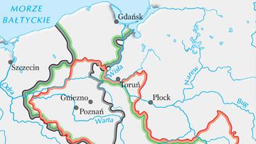 Porównanie granic królestw:  Przemysła II, Wacława II i Władysława Łokietka.
