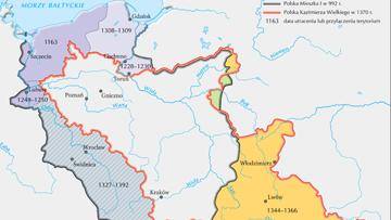 Porównanie granic państwa Piastów za rządów Mieszka I i Kazimierza Wielkiego.