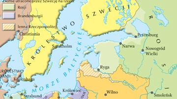 Obszar Morza Bałtyckiego w 1721 r., po wojnach północnych.