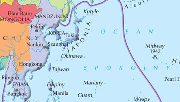 Najdalszy zasięg ekspansji Japonii na Dalekim Wschodzie w 1942 r.