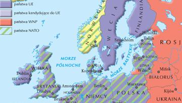 Podział Europy na najważniejsze związki polityczne i militarne w 2004 r.