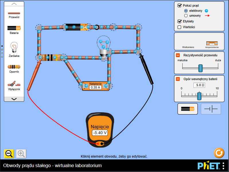 Obwody prądu stałego – wirtualne laboratorium